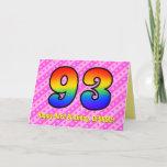 [ Thumbnail: Fun Pink Stripes, Hearts, Rainbow # 93rd Birthday Card ]