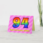 [ Thumbnail: Fun Pink Stripes, Hearts, Rainbow # 94th Birthday Card ]