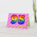 [ Thumbnail: Fun Pink Stripes, Hearts, Rainbow # 95th Birthday Card ]