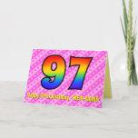 [ Thumbnail: Fun Pink Stripes, Hearts, Rainbow # 97th Birthday Card ]
