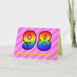 [ Thumbnail: Fun Pink Stripes, Hearts, Rainbow # 98th Birthday Card ]