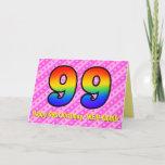 [ Thumbnail: Fun Pink Stripes, Hearts, Rainbow # 99th Birthday Card ]