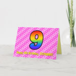 [ Thumbnail: Fun Pink Stripes, Hearts, Rainbow # 9th Birthday Card ]