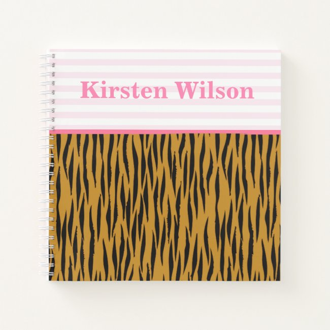Fun Pink Stripes & Tigerprint Personalized
