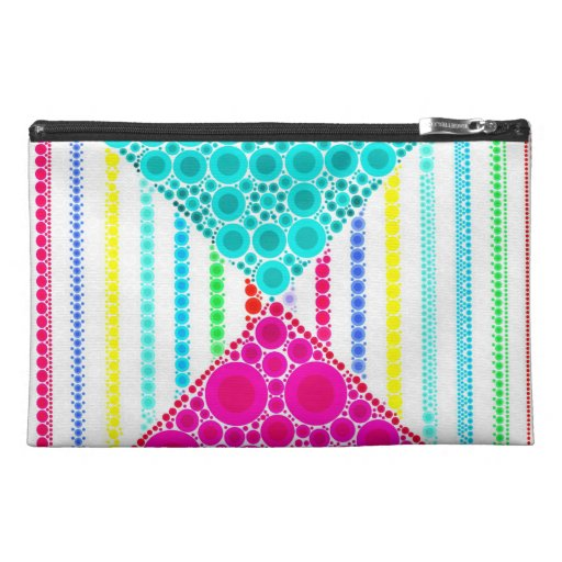 Fun Pink Teal Concentric Circles Stripes Pattern Travel Accessories Bag