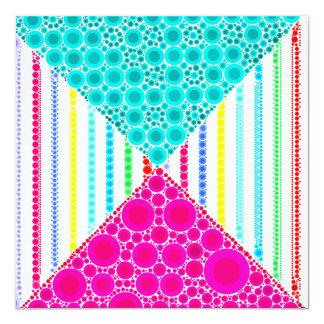 Fun Pink Teal Concentric Circles Stripes Pattern Card