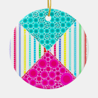 Fun Pink Teal Concentric Circles Stripes Pattern Ceramic Ornament