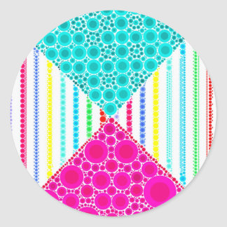Fun Pink Teal Concentric Circles Stripes Pattern Classic Round Sticker