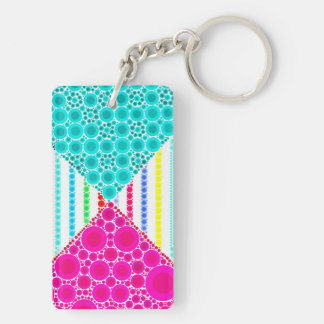 Fun Pink Teal Concentric Circles Stripes Pattern Double-Sided Rectangular Acrylic Keychain