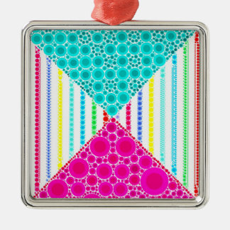 Fun Pink Teal Concentric Circles Stripes Pattern Metal Ornament
