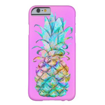 Fun Pink Tropical Pineapple Color Splash Barely There iPhone 6 Case