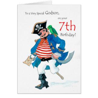 Fun Pirate 7th Birthday Card for Godson