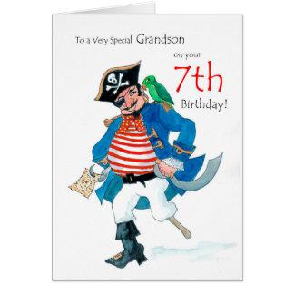Fun Pirate 7th Birthday Card for Grandson
