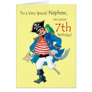 Fun Pirate 7th Birthday Card for Nephew on Yellow