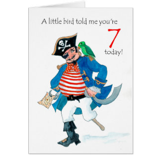 Fun Pirate and Parrot 7th Birthday Card