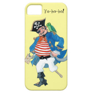 Fun Pirate and Parrot on Pale Lemon Yellow iPhone SE/5/5s Case