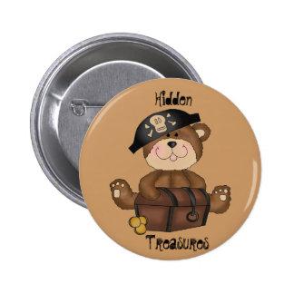 Fun Pirate Bear with Treasure Chest Pin Button