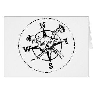 Fun Pirate Compass Logo Greeting Card