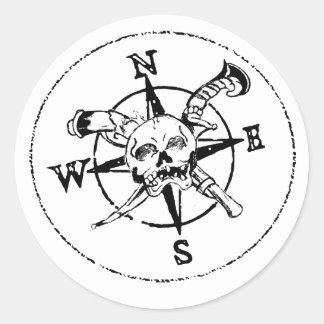 Fun Pirate Compass Logo Classic Round Sticker