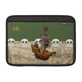 Fun Pirate Ship, Map & Skulls Name Personalization Sleeves For MacBook Air
