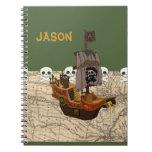 Fun Pirate Ship, Map & Skulls Name Personalization Spiral Note Books