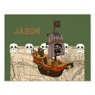 Fun Pirate Ship, Map & Skulls Name Personalization Photo Print
