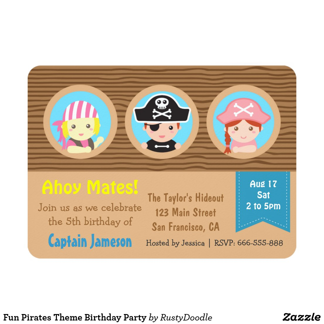 Fun Pirates Theme Birthday Party Card