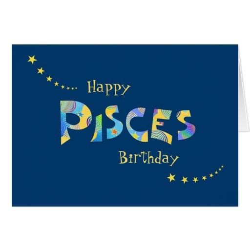 Fun PISCES Zodiac Birth Sign Birthday Greeting Card
