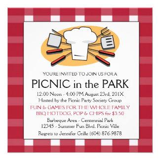 Fun Plaid Tablecloth Summer Picnic BBQ invitation