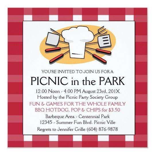 fun plaid tablecloth summer picnic bbq invitation zazzle com