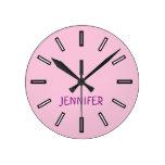 [ Thumbnail: Fun, Plain, Simple Pink Clock + Personalized Name ]