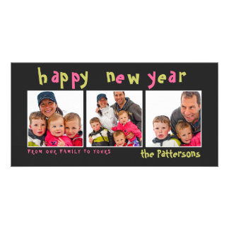 Fun Playful Happy New Year 3 Photo Card
