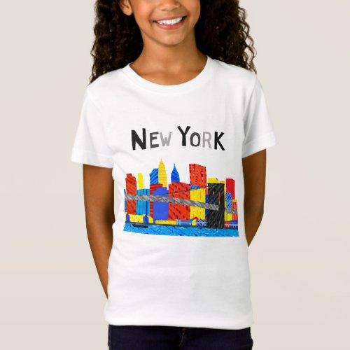 Fun Playful Illustration of Manhattan Skyline T_Shirt