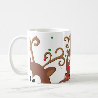 Fun Playful Rudolph Reindeer games mug