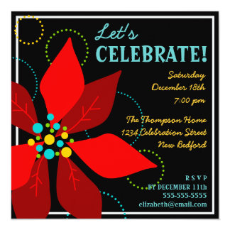 Fun Poinsettia Retro Holiday Party Invitation