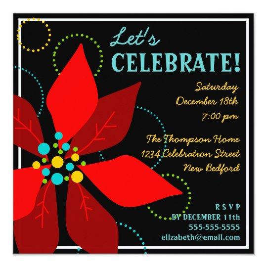 Retro Christmas Party Invitations: Fun Poinsettia Retro Holiday Party Invitation