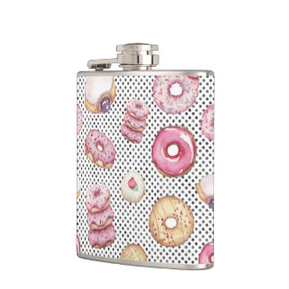 Fun Polka Donut Pattern Watercolor Pastry Print Flask