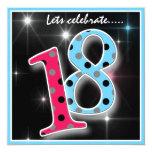 Fun Polka Dot 18th Birthday Party Invitation 13 Cm X 13 Cm Square Invitation Card