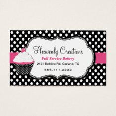 Fun Polka Dot And Cupcake Bakery Business Card at Zazzle