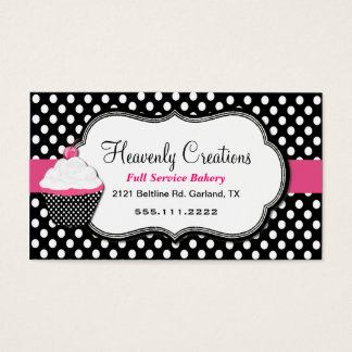 Fun Polka Dot and Cupcake Bakery Business Card