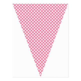 Fun Polka Dot Hot Pink Colorful Flag Bunting Postcard