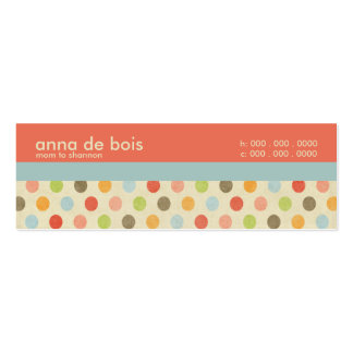 Fun Polka Dot Mommy Calling Card Double-Sided Mini Business Cards (Pack Of 20)