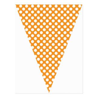 Fun Polka Dot Orange Colorful Flag Bunting Postcards