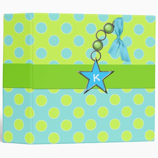 Fun Polka Dots and Monogram Custom Binder