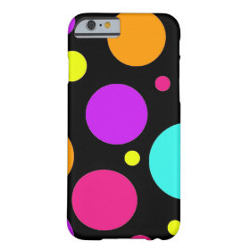 Fun Polka Dots Black Orange Purple Teal Pink Barely There iPhone 6 Case