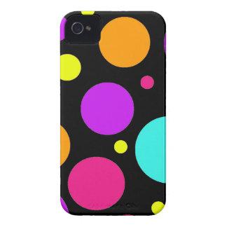 Fun Polka Dots Black Orange Purple Teal Pink iPhone 4 Case