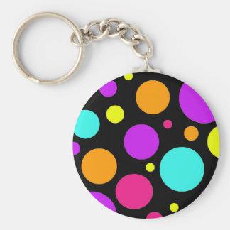 Fun Polka Dots Black Orange Purple Teal Pink Keychain