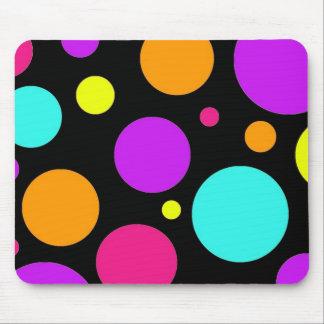 Fun Polka Dots Black Orange Purple Teal Pink Mouse Pad