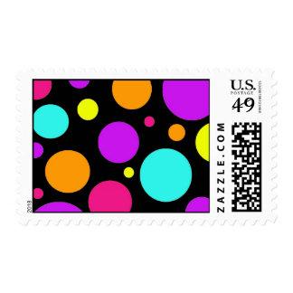 Fun Polka Dots Black Orange Purple Teal Pink Postage Stamp