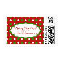 Fun Polka Dots white and green on Christmas red Postage